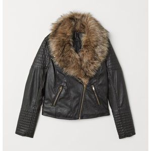 H&M Faux Fur-Collar Biker Jacket 🕶